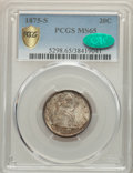 Twenty Cent Pieces, 1875-S 20C MS65 PCGS. CAC. PCGS Population: (207/69 and 8/11+). NGC Census: (198/57 and 2/2+). MS65. Mintage 1,155,000....