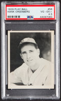 Baseball Cards:Singles (1930-1939), 1939 Play Ball Hank Greenberg #56 PSA VG-EX+ 4.5....