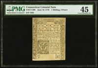 Connecticut June 19, 1776 1s 3d PMG Choice Extremely Fine 45
