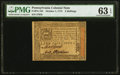 Colonial Notes:Pennsylvania, Pennsylvania October 1, 1773 2s PMG Choice Uncirculated 63 EPQ.. ...