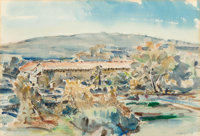 Clarence K. Hinkle (American, 1880-1960) Santa Barbara Mission Towers Watercolor on paper 14-3/4