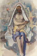 Works on Paper, Clarence K. Hinkle (American, 1880-1960). Nude in a Blanket. Watercolor and ink on paper. 20-1/2 x 13-1/2 inches (52.1 x...