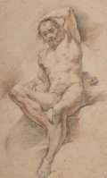 Works on Paper, Continental School (Early 18th Cent). Nude Male. Mixed media on paper. 16-1/2 x 9-3/4 inches (41.9 x 24.8 cm) (sheet). ...