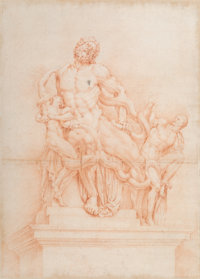 Italian School (18th Century) Laocoon and His Sons Sanguine on paper 20 x 14-1/2 inches (50.8 x 3