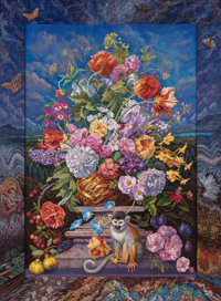Ian Hornak (b. 1944) Homage to Van Hysum (Baroque Flowerpiece with Minerals, A Monkey, and the Milky Way), 1989 Acryli...