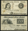 Obsoletes By State:New Hampshire, Manchester, NH- O. Barton & Co. at Merrimack River Bank 5¢; 10¢ Nov.8,1862 Fine.. ... (Total: 2 notes)