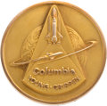 Explorers:Space Exploration, Space Shuttle Columbia (STS-1) Flown Gold Robbins Medallion, Serial Number 15F, Originally from the Personal Colle...