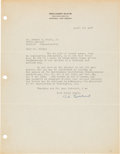 Explorers:Space Exploration, Robert H. Goddard 1937 Typed Letter Signed Regarding Early Rocketry, with Letter of Authenticity from JSA....