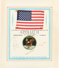 Explorers:Space Exploration, Apollo 11 Flown American Flag on a Crew-Signed Presentation Certificate to Al Bishop, in Matted Display. ...