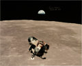 Explorers:Space Exploration, Michael Collins Signed Large Apollo 11 Lunar Orbit Eagle Color Photo....