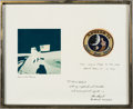 Explorers:Space Exploration, Apollo 14 Flown Embroidered Mission Insignia Patch on Mat Presented by Mission Commander Alan Shepard to Beech Aircraft Presid...