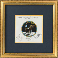 Apollo 11 Flown and Crew-Signed Beta Cloth Mission Insignia Originally from the Personal Collection of Mission Command M...