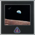 "Explorers:Space Exploration, Apollo 8 ""Earthrise"" Large Color Photo Signed by Frank Borman in Framed Display by Novaspace with Mission Insignia Patch. ..."