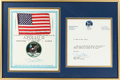 Explorers:Space Exploration, Apollo 11 Flown American Flag Certified and Signed by Buzz Aldrin on His Signed Certificate with His Letter of Authenticity, O...