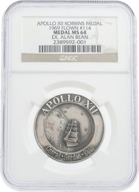 Apollo 12 Flown MS64 NGC Silver Robbins Medallion, Serial Number 114, Originally from the Personal Collection of Mission...