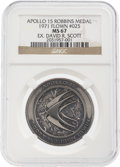 Explorers:Space Exploration, Apollo 15 Flown MS67 NGC Silver Robbins Medallion, Serial Number 25, Originally from the Personal Collection of Mission Comman...