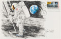 "Explorers:Space Exploration, Apollo 11: Paul Calle Original Signed Color Pencil Drawing of Neil Armstrong's First Step on a Large ""First Man On The Moon"" F..."