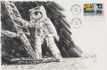 "Explorers:Space Exploration, Apollo 11: Paul Calle Original Signed Pencil Drawing of Neil Armstrong Standing on the Moon on a Large ""First Man On The Moon""..."