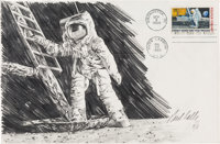 """Apollo 11: Paul Calle Original Signed Pencil Drawing of Neil Armstrong Standing on the Moon on a Large """"First Man O..."""