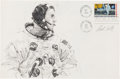 "Explorers:Space Exploration, Apollo 11: Paul Calle Original Signed Pencil Drawing of Neil Armstrong Suiting Up the Morning of the Launch, on a Large ""First..."