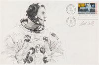 Apollo 11: Paul Calle Original Signed Pencil Drawing of Neil Armstrong Suiting Up the Morning of the Launch, on a Large...