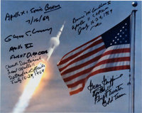 Apollo 11 Launch Color Photo Signed by Mission Control Personnel including Bruce McCandless, Gerry Griffin, Glynn Lunney...