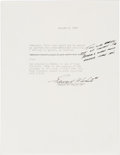 Explorers:Space Exploration, Edward White II 1965-Dated Typed Quotation Signed with Handwritten Notation. ...