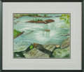 "Explorers:Space Exploration, Michael Collins Original Watercolor ""Placid Pool"" with Signed Novaspace Certificate of Authenticity, in Framed Display. ..."