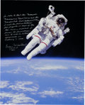 Explorers:Space Exploration, Bruce McCandless Signed and Annotated Large STS-41-B Untethered EVA Color Photo with Photographic Provenance. ...