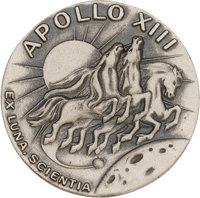 Apollo 13 Flown Silver Robbins Medallion, Serial Number 245, Directly from the Personal Collection of Mission Commander...