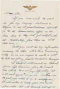 Explorers:Space Exploration, Midshipman Neil Armstrong Autograph Letter Signed to His Father from the Naval Air Training Base, circa early 1949, Regarding ...
