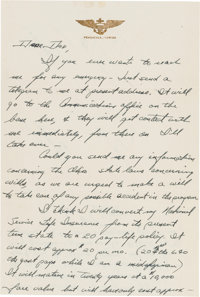 Midshipman Neil Armstrong Autograph Letter Signed to His Father from the Naval Air Training Base, circa early 1949, Rega...