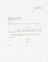 Neil Armstrong 1983 Typed Letter Signed to His Father Regarding Wapakoneta's Plan for an Apollo 11 Fifteenth Anniversary...