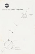 Explorers:Space Exploration, Neil Armstrong Hand-Drawn Diagram of the Earth and the Moon on His NASA Notepaper, Directly from His Brother's Collection....