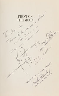 Apollo 11 Crew-Signed Book: First on the Moon, as Presented to Charlie Duke, the Mission Cap