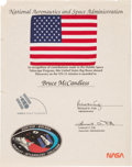 Explorers:Space Exploration, Space Shuttle Discovery (STS-31) Flown American Flag on Presentation Certificate to Mission Specialist Bruce McCan...
