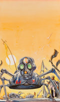 Paintings, Josh Kirby (British, 1928-2001). No Time for Heroes paperback cover, 1971. Gouache on board. 9-3/4 x 6 inches (24.8 x 15...