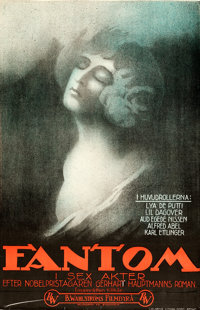"Phantom (B. Wahlströms Filmbryrå, 1922). Rolled, Very Fine+ Swedish One Sheet (27.5"" X 39.5"")"