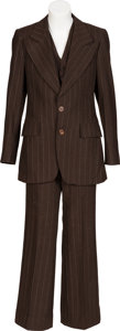 Music Memorabilia:Costumes, Keith Moon/The Who Owned and Worn Three-Piece Brown/White Striped Suit. ...