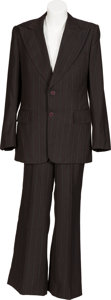 Music Memorabilia:Costumes, Jon Entwistle/The Who Owned Two-Piece Brown/White and Red Striped Suit. ...