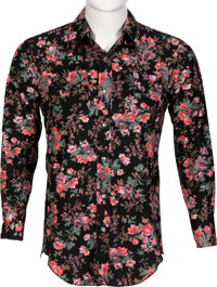 Keith Moon/The Who Owned and Worn Black/Floral Print Long-Sleeve Button-Up Shirt