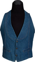 Music Memorabilia:Costumes, Keith Moon/The Who Owned and Worn Denim Waist Coat With Large Rolls Royce Patch On Back. ...