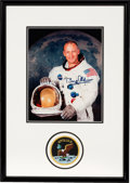 Explorers:Space Exploration, Buzz Aldrin Signed White Spacesuit Color Photo in a Novaspace-Framed Display with Embroidered Mission Insignia Patch, Novaspac...