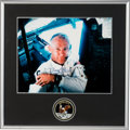 Explorers:Space Exploration, Buzz Aldrin Signed Large Apollo 11 Lunar Module Interior Color Photo in a Novaspace-Framed Display with an Embroidered Mis...