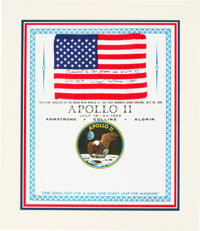 Apollo 11 Flown American Flag with Presentation Certificate Originally from the Personal Collection of Mission Command M...