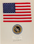Explorers:Space Exploration, Apollo 12 Lunar Module Flown Large Size American Flag on a Gordon-Signed Presentation Mat Directly from the Family Collection ...