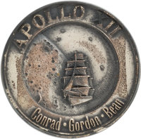 Apollo 12 Flown Silver Robbins Medallion, Serial Number 48, Directly from the Family Collection of Mission Command Modul...