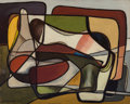 Paintings, Karl Benjamin (1925-2012). Untitled, 1951. Oil on canvas laid on board. 15-7/8 x 20 inches (40.3 x 50.8 cm). Signed and ...