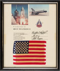Explorers:Space Exploration, Space Shuttle Columbia (STS-1) Flown American Flag on Presentation Certificate to Astronaut Bruce McCandless II an...
