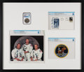 Explorers:Space Exploration, Apollo 11: Special Framed Presentation including a Manned Flight Awareness Medal MS69 NGC (1 of 100 Issued to Armstrong), a La...